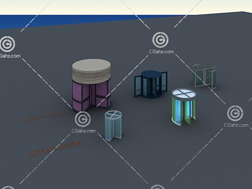 商场旋转门3D模型下载