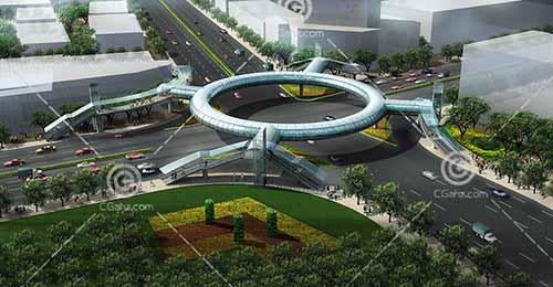 圆形的天桥3D模型下载