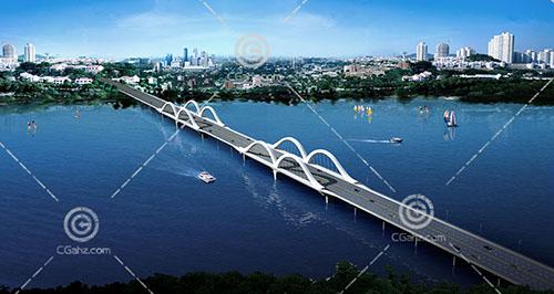 简单的跨江大桥3D模型下载