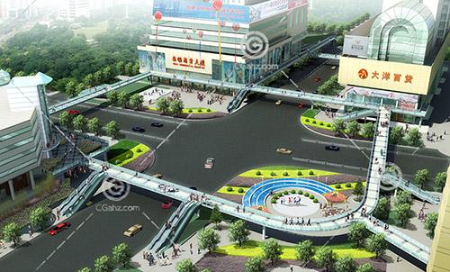 商业街天桥3D模型下载