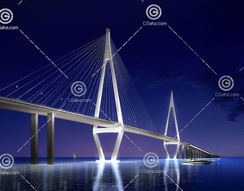 跨江桥3D模型下载