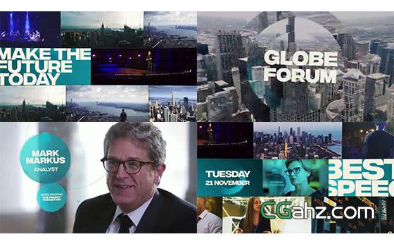 现代风全球商务峰会论坛或会议宣传片AE模板