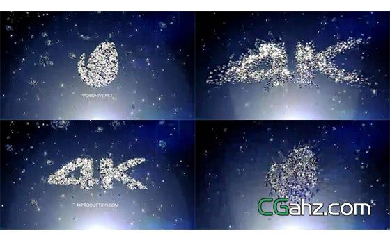 华丽钻石飞聚形成logo标志的AE模板