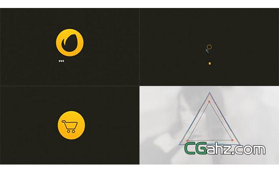 极简风快速的标志开场小动画AE模板
