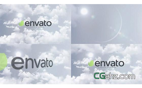 阳光和云层中的明亮标志飞入开场AE模板