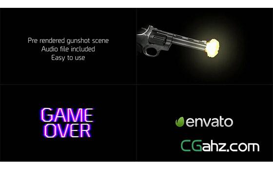 手枪击发出子弹的震撼标志开场特效