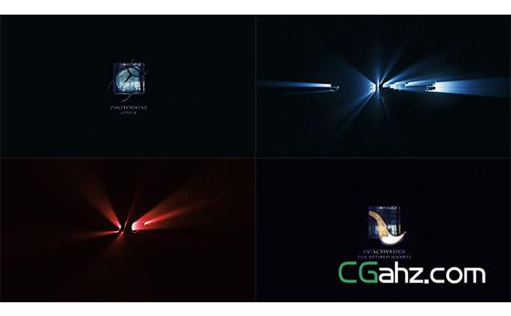 黑暗中的沉稳光线揭示出logo标志AE模板