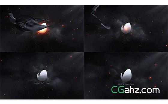黑暗环境中,飞过的黑布揭示出标志AE模板