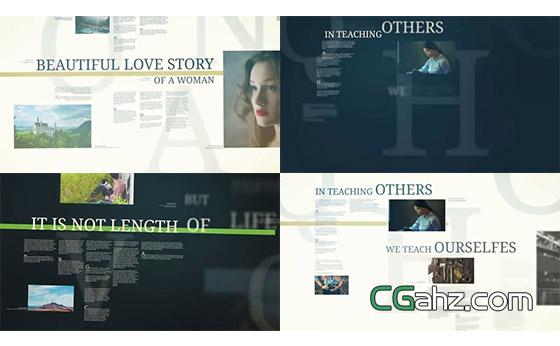 引用文字和图像内容的优雅排版演绎效果AE模板
