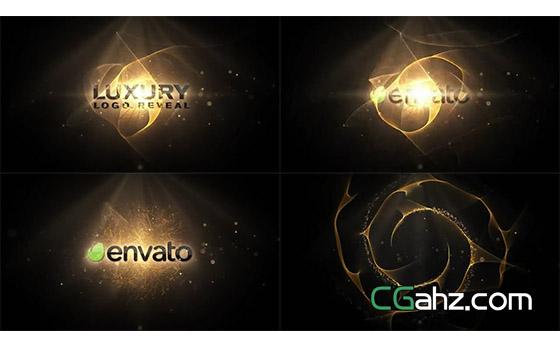 飘逸的金色光环粒子揭示出logo标志AE模板