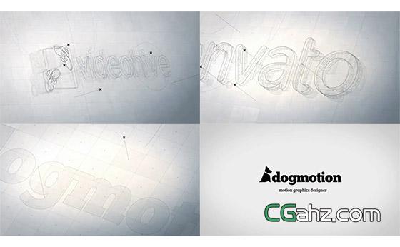 干净的线描草图结构三维标志演绎AE模板
