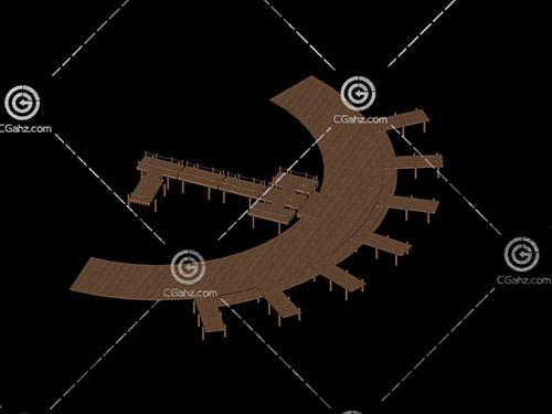 圓弧形的木質小橋3D模型下載