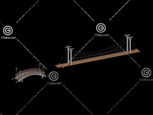 两座不同造型的小桥3D模型下载