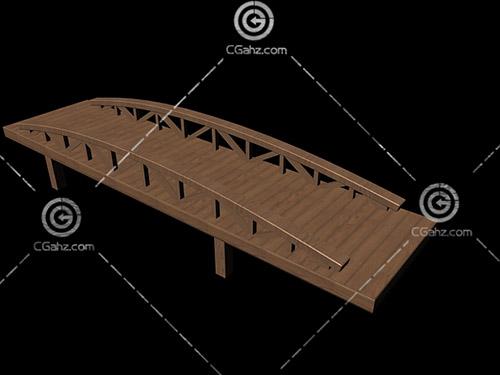 简单的木质小桥3D模型下载