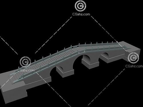 帶有臺階的小拱橋模型下載