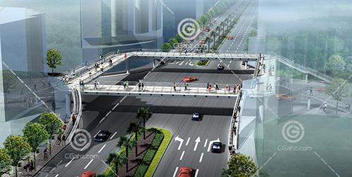 路口人行天桥3D模型下载