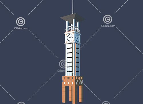 方形的钟楼3D模型下载