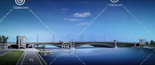 带有路灯的跨江大桥3D模型下载