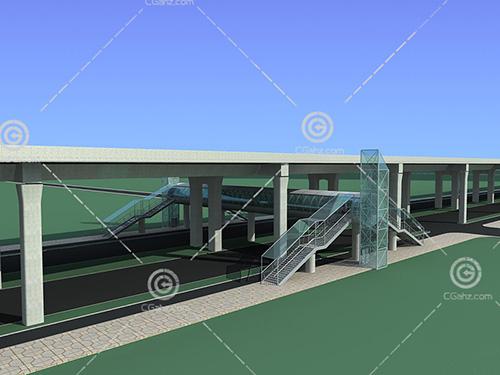 带有雨蓬的过路天桥3D模型下载