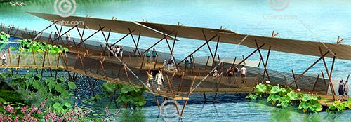 景观栈桥3D模型下载