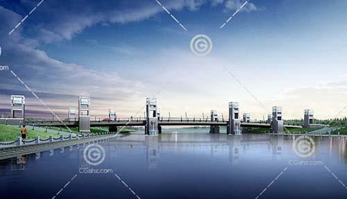 独特的跨江桥3D模型下载