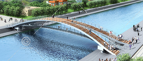 双层过河桥3D模型下载