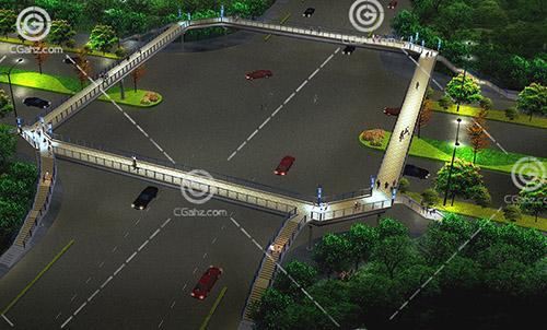 十字路口天桥3D模型下载