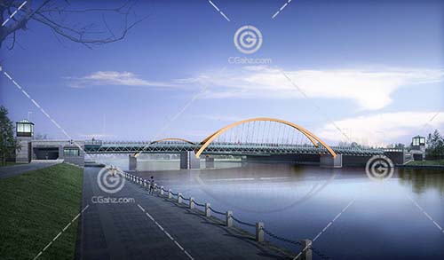 钢结构的跨江大桥3D模型下载