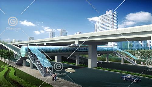 带雨蓬的天桥模型下载