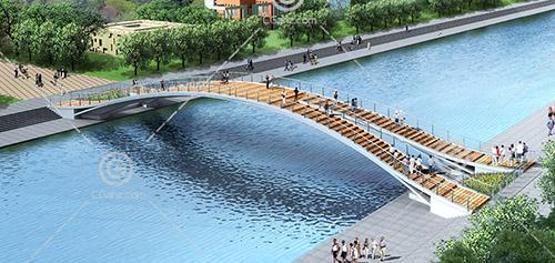 拱形过河桥3D模型下载