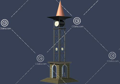 结构简单的钟楼3D模型下载