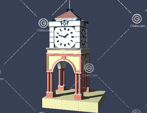 带有拱门的钟楼3D模型下载