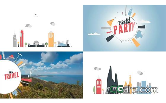 卡通扁平风格的世界城市展示AE模板