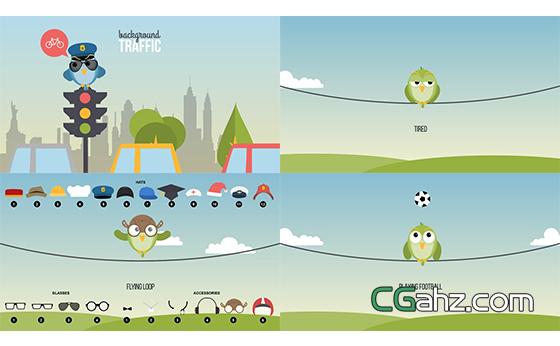 可愛卡通小鳥主題的內容解說動畫元素大全AE模板