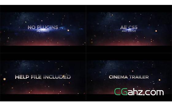 激烈的撞擊光效電影預告片AE模板