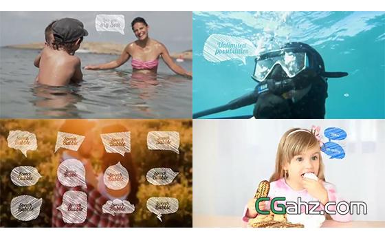卡通粉笔素描风格的对话气泡动画素材集AE模板