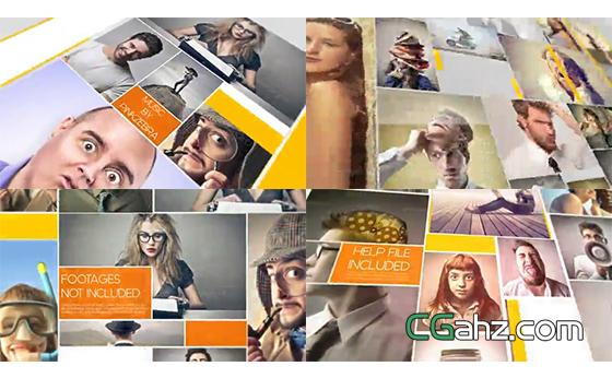多张照片排版组合展示AE模板