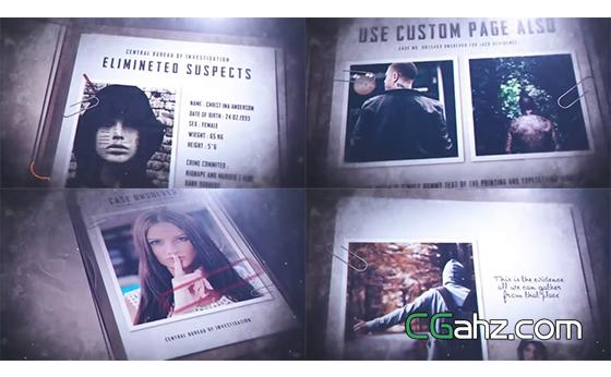 模拟罪犯档案集的刑事侦缉档案AE模板