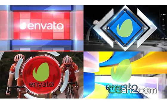 电视频道或节目用的三维标志转场过渡动画AE模板