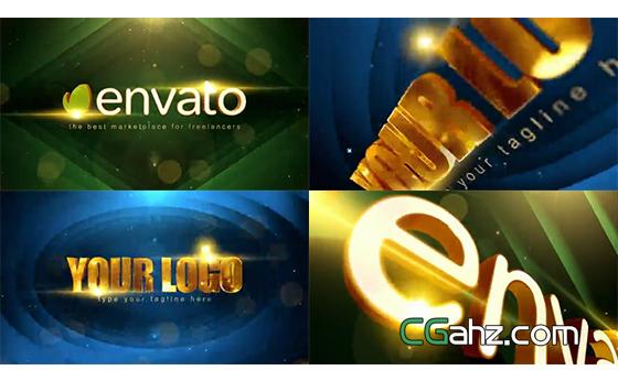大气黄金质感的颁奖标志入场动画AE模板