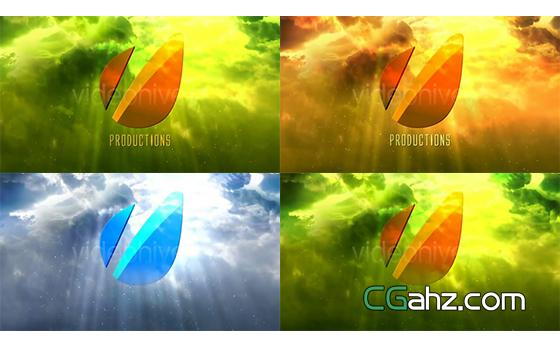 天空光芒照射下电影大片般的标志开场AE模板