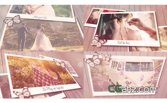 蝴蝶也愿意停留观看的甜蜜婚礼记忆相册AE模板