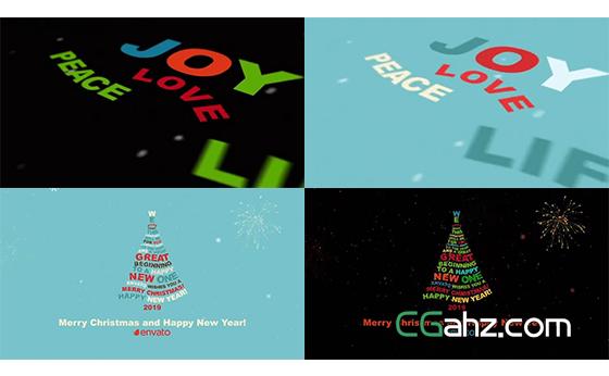 文字祝福语排版组合成一棵圣诞树AE模板