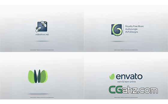 卡片旋转并重叠成logo标志的动画AE模板