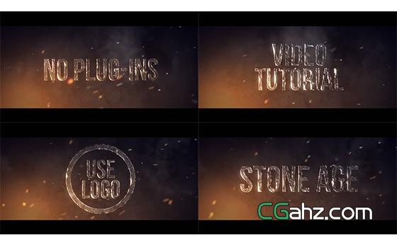 石器时代质感文字标题特效AE模板