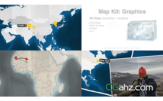 地图上的路线动画AE模板