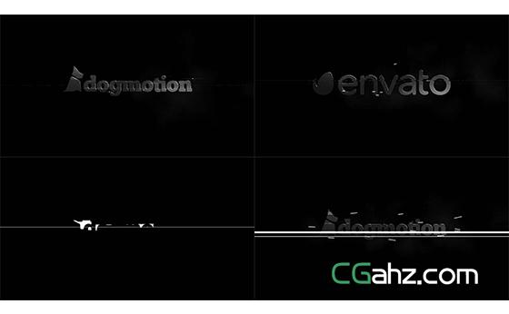 黑白信号故障特效下的快速标志演绎AE模板