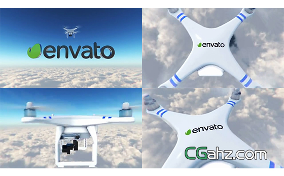 在天空中飞翔的无人机标志开场动画