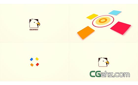 快速的四色图形动画标志揭示开场AE模板