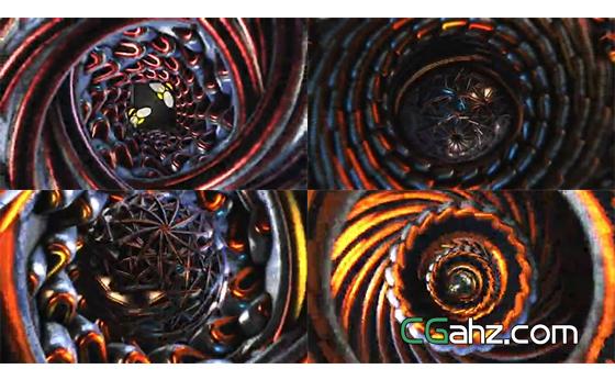 帅气的3D金属螺旋万花筒标志动画AE模板